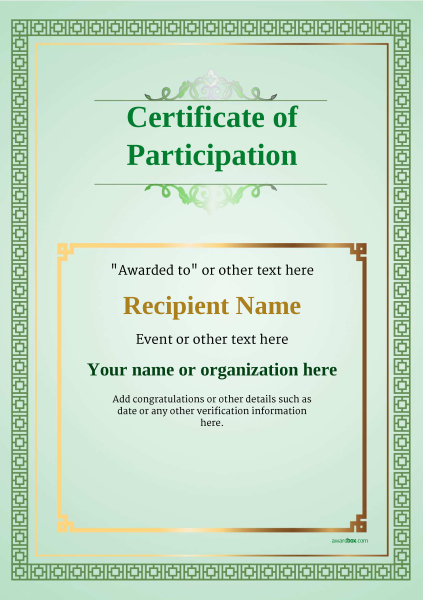 certificate-of-participation-template-award-classic-style-5-blank-green Image