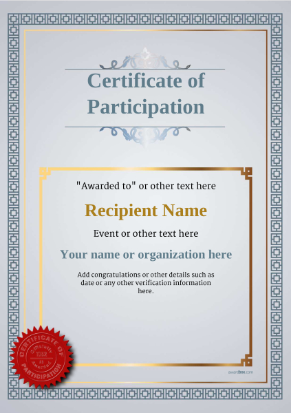 Certificate Of Participation Template | Participation Certificate Templates Free Printable Add Badges