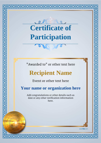 certificate-of-participation-template-award-classic-style-5-medal-blue Image