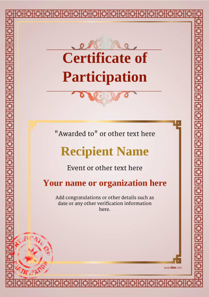 certificate-of-participation-template-award-classic-style-5-red-stamp Image