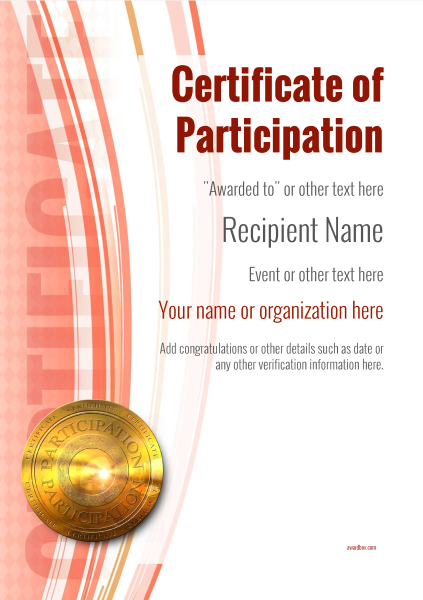 certificate-of-participation-template-award-modern-style-1-red-medal Image