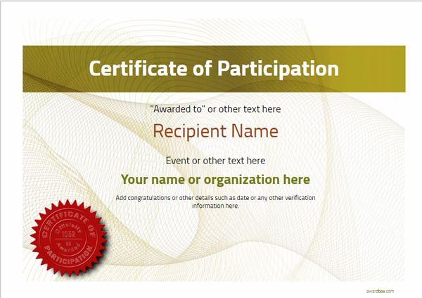 certificate-of-participation-template-award-modern-style-3-yellow-seal Image