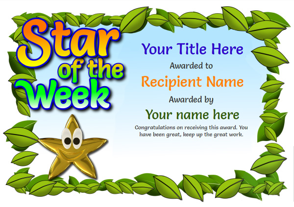School certificate template star of the week 2 Image