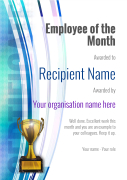 employee of the month certificate trophy Image