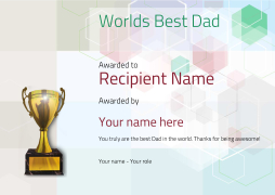 worlds best dad certificates use free templates by awardbox