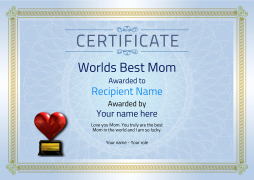 printable best mom award certificate with heart medal Image