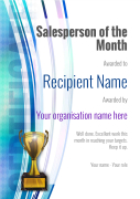 salesperson of the month certificate trophy Image