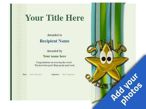 school certificate template star of the week Image