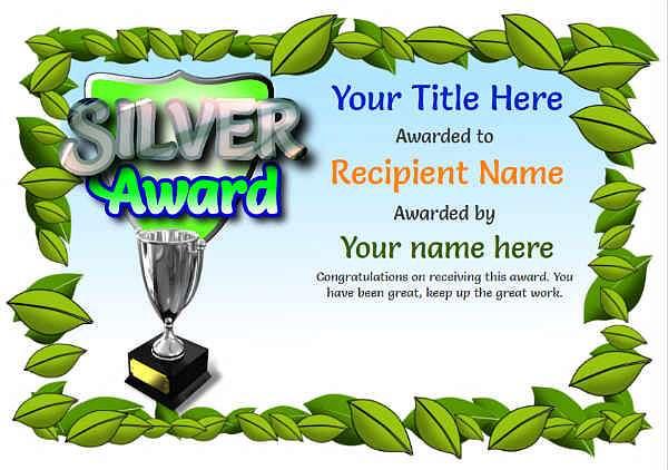 junior silver certificate template Image
