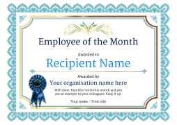 vintage3 blue_employee rosette image - Employee Of The Year Certificate Free Template