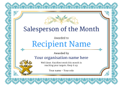 Salesperson of the month certificates free templates, unlimited use.