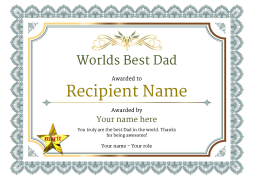 Worlds best dad certificates use free templates by awardbox vintage3 defaultwbestdad merit image yadclub Gallery