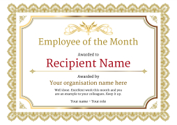 employee of the month certificate free well designed templates