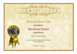 worlds best dad certificate award Image