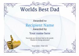 worlds best dad certificate thumbsup Image